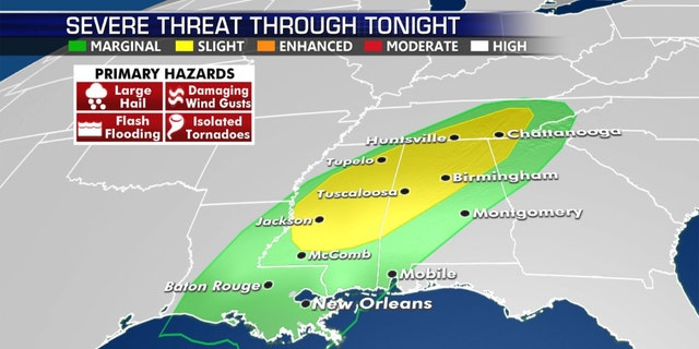 The threat of severe storms across the South on Wednesday.