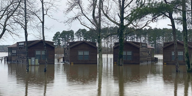 Excessive rains flood the Oktibbeha County Lake campground in Starkville, Miss., Tuesday, Feb. 11, 2020.