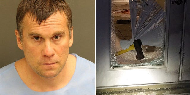 Thayer used an ax to break down a deputy's door Tuesday night, the sheriff said.