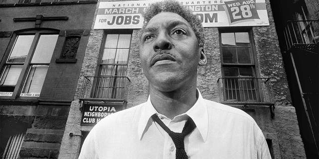 FILE - In this Aug. 1, 1963, file photo, Bayard Rustin, leader of the March on Washington poses in New York City. (AP Photo/Eddie Adams, File)