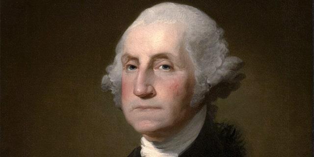Cropped portrait of George Washington based on the unfinished Athenaeum Portrait, by Gilbert Stuart, 1796