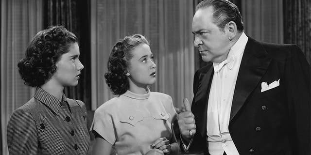 """Edward Arnold with Jane Powell (center) and Ann Todd in the MGM musical film """"The Birds and the Bees,"""" aka """"Three Daring Daughters,"""" 1947."""