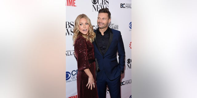 Event honoree Kelly Ripa and Ryan Seacrest attend the Broadcasting & Cable Hall of Fame Awards Anniversary Gala at The Ziegfeld Ballroom on October 29, 2019 in New York City. (Photo by Gary Gershoff/Getty Images)