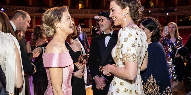 BAFTA winner Renee Zellweger and Catherine, Duchess of Cambridge speak at the EE British Academy Film Awards 2020 at Royal Albert Hall on Feb. 2, 2020, in London, England.