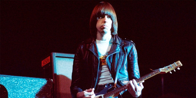 Johnny Ramone (John Cummings) (1948 - 2004) of The Ramones performs on stage at The Roundhouse, London, July 1976.
