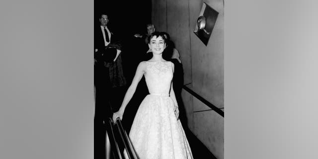 Audrey Hepburn, wearing a Givenchy gown, at the 26th Annual Academy Awards at the NBC Century Theatre in New York City, on March 25, 1954.