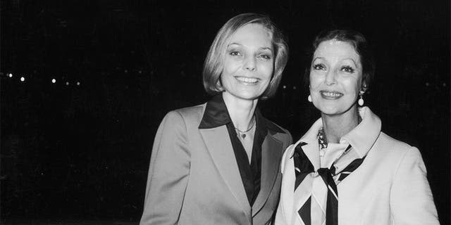 Judy Lewis and her actress mother, Loretta Young, at an American Film Institute cocktail party held aboard the Pacific Princess cruise ship in California, circa 1974.