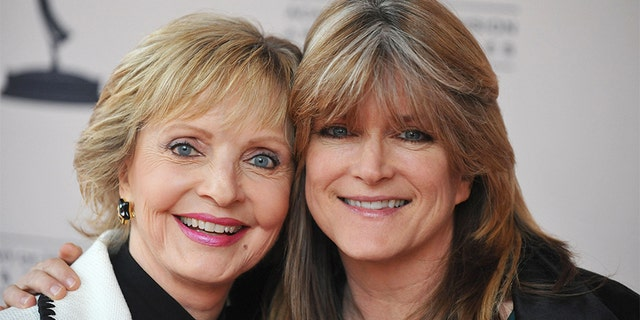 Florence Henderson (left) with her TV daughter Susan Olsen.
