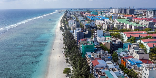 Newly-constructed buildings are pictured on Hulhumale, an artificial island built next to the capital city of Male in the Maldives.