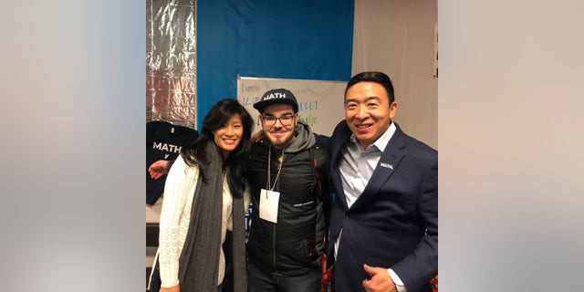 Matt Skidmore meets Andrew Yang's wife Evelyn at a campaign event. (Photo provided by Matthew Skidmore)