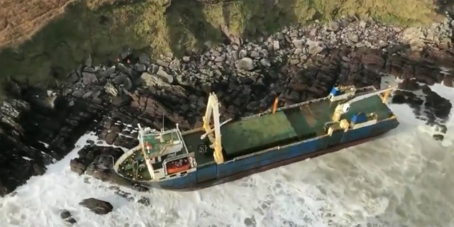 A cargo ship that had been drifting at sea since 2018 washed up on the coast of Ireland on Sunday, according to officials.