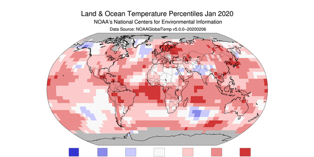 A man from NOAA's National Centers for Environmental Information showing the scope of warmer-than-average temperatures across the globe in January 2020.