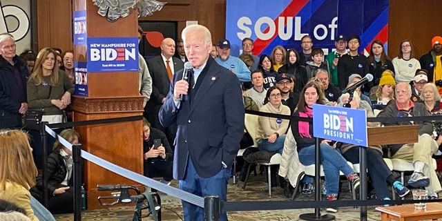 Former Vice President Joe Biden speaks to the crowd at a campaign event in Hampton Beach, N.H., on Feb. 9, 2020