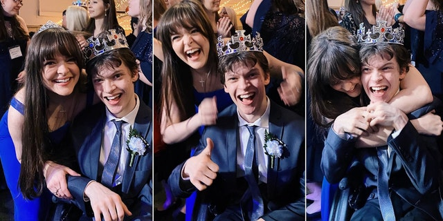 Siblings Micah and Kelsey Fowler during the Night to Shine crowning at Bayside Chapel on Feb. 7, 2020 in Barnegat Township, New Jersey.