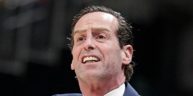 Brooklyn Nets head coach Kenny Atkinson was a star at Richmond. (AP Photo/Michael Conroy)