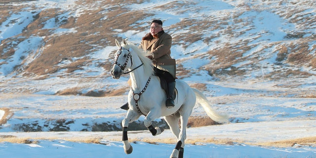 North Korean leader Kim Jong Un riding a horse during snowfall in Mount Paektu in this image released by North Korea's Korean Central News Agency in October 2019. (KCNA via REUTERS, File)