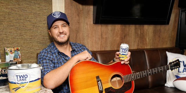 Luke Bryan with his new beer brand Two Lane on his tour bus in New York City.