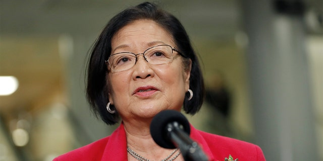 Sen. Mazie Hirono, D-Hawaii, speaks to reporters on Capitol Hill in Washington, Thursday, Jan. 30, 2020, during the impeachment trial of President Donald Trump on charges of abuse of power and obstruction of Congress. Hirono has changed her opinion on the legislative filibuster since signing a 2017 letter supporting it. (AP Photo/Julio Cortez)