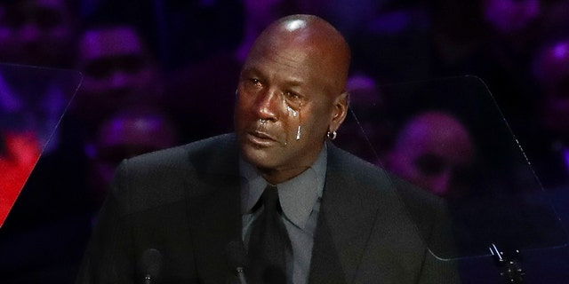Former NBA player Michael Jordan cries while speaking during a celebration of life for Kobe Bryant and his daughter Gianna Monday, Feb. 24, 2020, in Los Angeles. (AP Photo/Marcio Jose Sanchez)