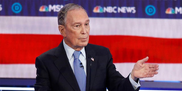 Democratic presidential candidate, former New York City Mayor Mike Bloomberg speaks during a Democratic presidential primary debate Wednesday, Feb. 19.