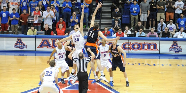 Mike Muscala, No. 31 right, helped Bucknell to a Patriot League title. (Photo by Mitchell Layton/Getty Images)