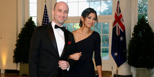 President Trump went from the Daytona 500 on Sunday to attending the wedding of two top members of his administration, senior adviser Stephen Miller and Katie Waldman, press secretary for Vice President Mike Pence. (AP Photo/Patrick Semansky, File)