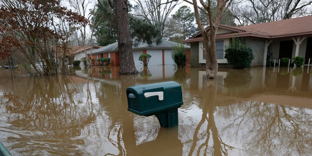 A mailbox stands above the Pearl River floodwater in this northeast Jackson, Miss., neighborhood Sunday, Feb. 16, 2020.