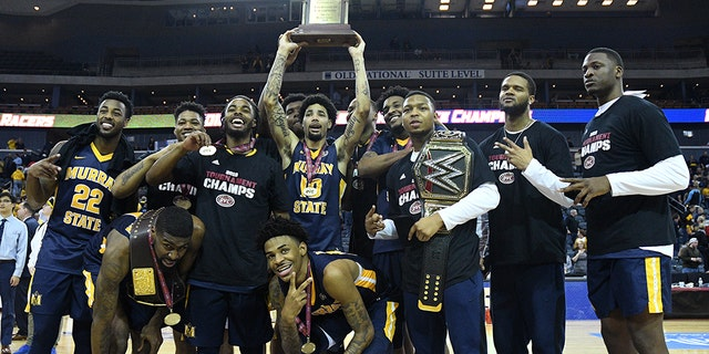 The Murray State Racers celebrate after winning the Ohio Valley Conference (OVC) Championship college basketball game between the Murray State Racers and the Belmont Bruins on March 9, 2019, at the Ford Center in Evansville, Indiana. (Photo by Michael Allio/Icon Sportswire via Getty Images)