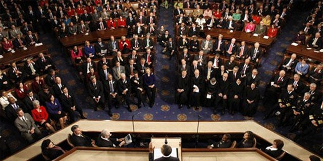 President Barack Obama addresses Congress and the Supreme Court during his 2012 State of the Union speech.