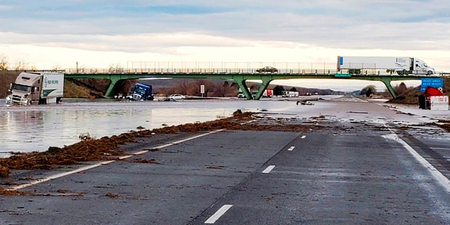 This photo provided by the Oregon State Police shows severe flooding on Interstate 84, a major freeway linking Idaho and Oregon, near Hermiston, Ore., Friday, Feb. 7, 2020.