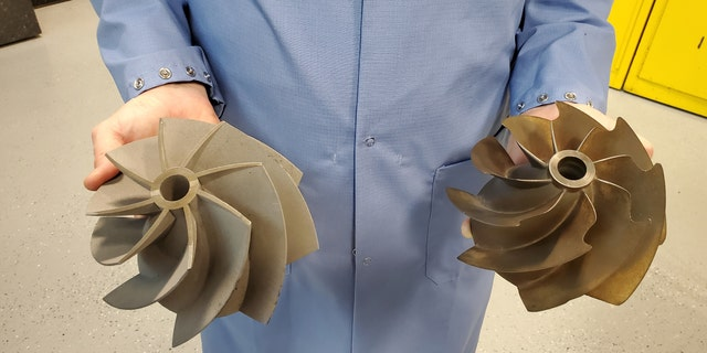 3D-printed replacement propeller fans for the Abrams tank. (Kris Osborn)