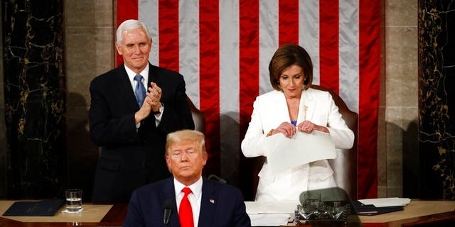 House Speaker Nancy Pelosi of Calif., tears her copy of President Trump's s State of the Union address after he delivered it to a joint session of Congress on Capitol Hill. (AP Photo/Patrick Semansky)
