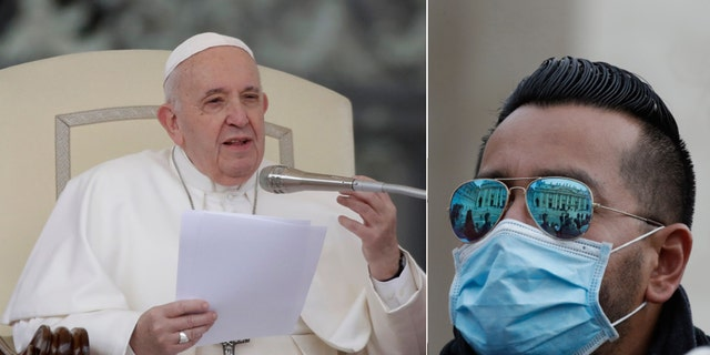 Pope Francis gives his speech during the general audience as faithful wear masks in St. Peter's Square at the Vatican, Wednesday, Feb. 26, 2020.