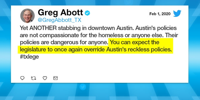 Texas Governor continuously targets City of Austin's leadership on social media.