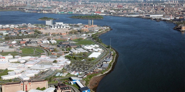 Aerial view of Rikers Island, New York's City main jail complex.