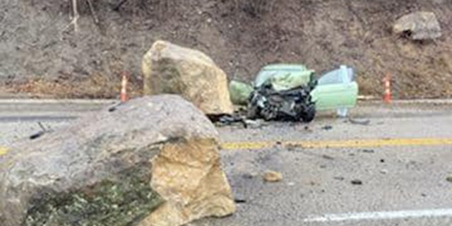 The rockslide left the driver of one vehicle critically injured.