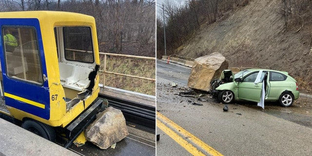 The rockslide sent boulders down on a highway and on the track of the West Virginia University Personal Rapid Transit system, injuring three people.
