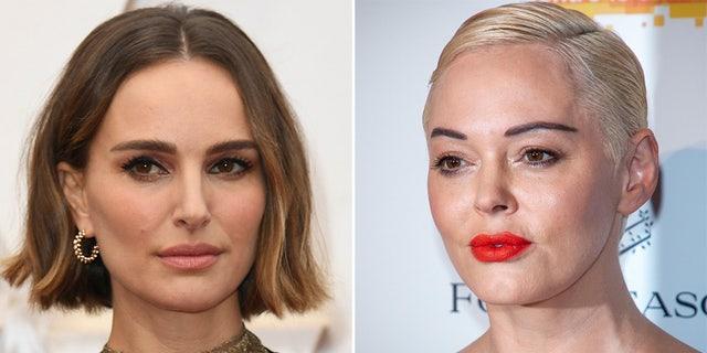 Rose McGowan, right, slammed Natalie Portman for virtue signaling at the Oscars (AP)
