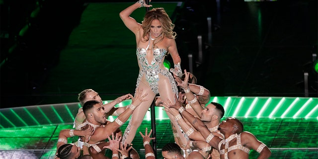 Jennifer Lopez performs, during the halftime show.