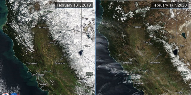 Side-by-side photos from NASA show the difference in snowpack in Northern California from 2019 to 2020.