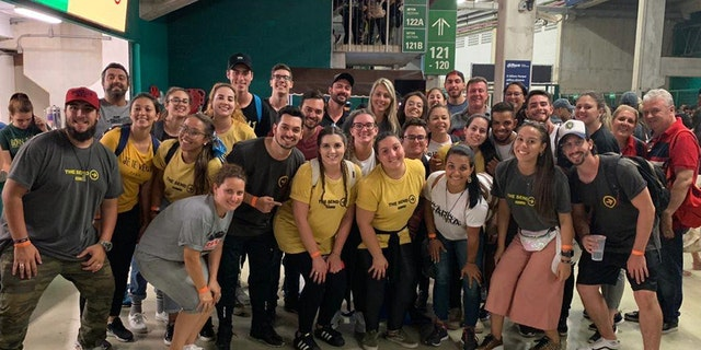 Pastors and young adult leaders from the GARRA ministry at the Allianz Parque Stadium in Sao Paulo Saturday, Feb. 8, 2020 joining 140,000 at The Send Brazil, an all-day evangelical event.