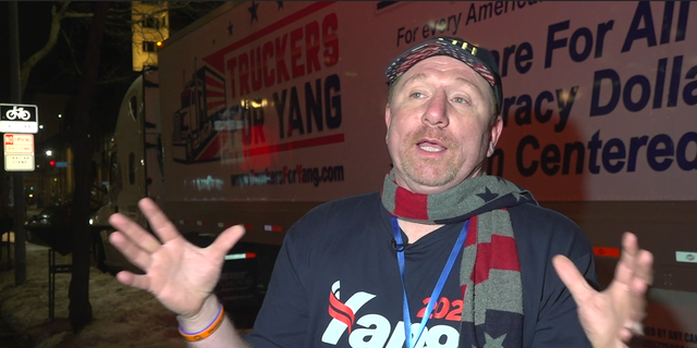 """Fred Ramey of """"Truckers for Yang"""" talks to Fox News outside Yang's Saturday night rally in Des Moines, IA."""