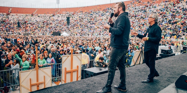 Shawn Bolz and Bill Johnson, lead senior pastor of Bethel Church, give prophetic words at Azusa Now.