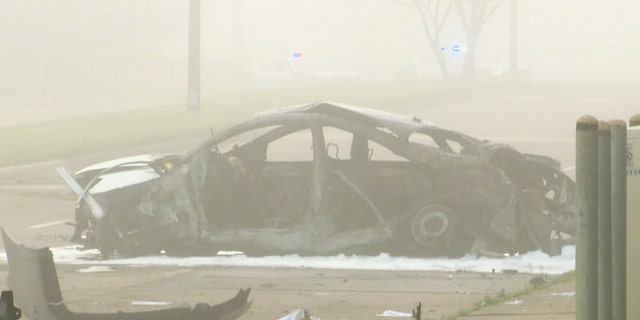 Police say Lyons' car caught fire and burned to hits frame after it was hit by a street racer early Sunday.