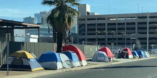 Dozens of tents line the streets outside CASS. (Stephanie Bennett / Fox News).