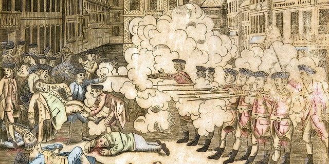 This vintage watercolor engraving features a massacre in Boston during the American Revolution. (iStock)