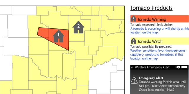 The difference between a tornado watch and a tornado warning.