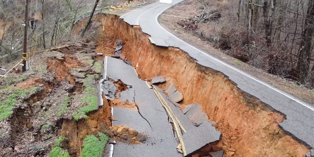 A portion of Glendale Road has collapsed after a landslide in Morris Chapel, Tenn. over the weekend.