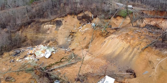 Homes have been reduced to rubble after the landslide.