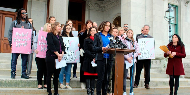 Westlake Legal Group Transgender-podium-AP Female HS track star says lawsuit to overturn Conn. transgender athlete policy 'absolutely necessary' Julia Musto fox-news/us/us-regions/northeast/connecticut fox-news/us/education/high-school fox-news/us/education/college fox-news/sports/running fox-news/sports fox-news/shows/ingraham-angle fox-news/politics/judiciary/federal-courts fox-news/politics/executive/law fox-news/media/fox-news-flash fox news fnc/media fnc article 6a2eba9b-e765-58cd-97bb-004c94534b18